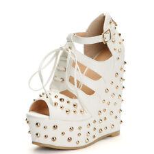 Womens Rivet Gladiator Super Wedge High Heels Platform Platform Sandals US 8