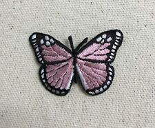 Iron On Embroidered Applique Patch - Pink/Black Monarch Butterfly SMALL