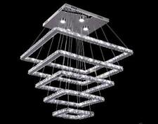 Crystal 5 Square LED Ceiling Lamp Stair light Fixture Curtain Pendant Chandelier