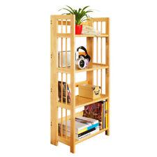 Shelf Unit 4 Tier Tropical Hevea Wood Folding Space Saving Storage Organizer