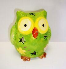 grünes Windlicht Eule / Keramik / Sterne / Teelichthalter