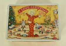 Collectible 1987 Mary Engelbreit I Love Christmas Tin Container w Lid