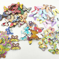50/100pcs Mix Lots Butterfly Wooden Buttons Fit Sewing and Scrapbook WB650