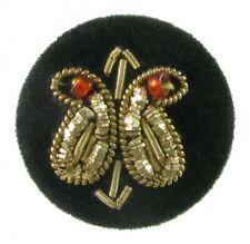 Medium Sz Fabric Button w/ Double Paisley Design, Zardozi Embroidery Work, Beads