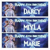 2 personalised FROZEN II birthday banner children nursery kid party decoration