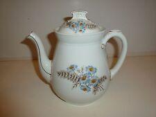Vintage Charles Field Haviland Limoges Tea Pot, Blue Flowers/Brown Leaves Design
