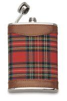 """Starwings :"""" 1628 """" Flasque Liqueur 6Oz. Inox Couverture Tissu Écossais Rouge"""