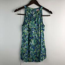 Lilly Pulitzer Size 2 Halter Top Blouse Blue Green Silk Floral Ruffle Flowers
