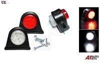 2 X Side Marker Outline Led Light Lamp White Red 12 Volt Trailer Truck Lorry