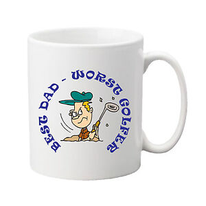 Personalised Ceramic Mug - Golfer in Bunker - With any wording of your choice