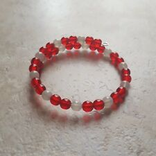 Scarlet Red and Gray School Colors Spirit Bracelet - Bead Wrap 1 Size Fits Most