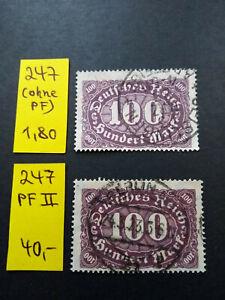 Deutsches Reich - Ziffern Queroffset - Nr. 247 II  PF - gestempelt (Mi. 40 €)