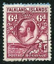 Falkland Island SG121 KGV 6d purple Penguin comb Perf Fine Used Cat 19 pounds