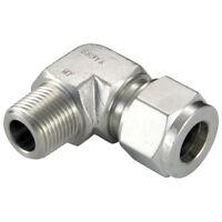 ACERO INOXIDABLE 316 DOBLE CASQUILLOS - MACHO CODO ISO 8 OD 1/4 BSPT 1-08474