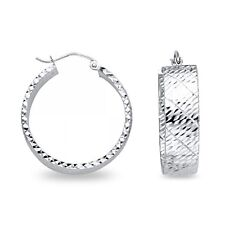 14k White Gold Round Wide Hoop Earrings Hollow Diamond Cut French Lock Design