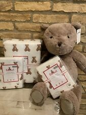 Pottery Barn Kids FULL QUEEN Duvet Teddy Bear Shams Christmas Organic Flannel