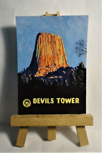Devils Tower National Monument Poster ACEO Original PAINTING by Ray Dicken