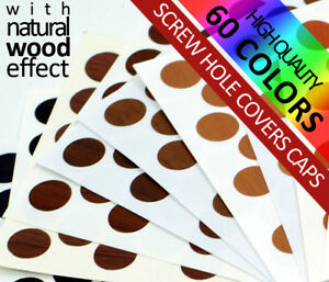 50 PVC SELF ADHESIVE STICK ON FURNITURE STICKER SCREW COVERS CAPS 60 COLORS 14mm
