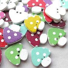 New 50pcs Mushroom W/ Dot Wood Buttons 22mm Sewing Craft Mix Lots T0751