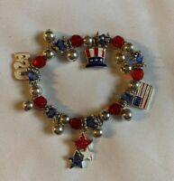 Patriotic USA Stretch Bracelet Red White & Blue Flag Stars Hat Charms
