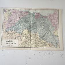 c1889 Edinburgh Environs British Isles Map Bacon Antique Vgc