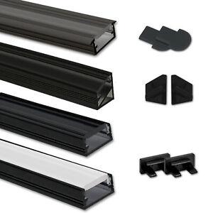 LED Aluprofil Aluminium Profil 2m 1m schwarz Alu Schiene Leiste LED Stripe Eck