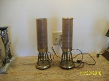 Burlap & Wire Brass Vintage Electric Table Lamps Set Of 2 Marked Nova 98