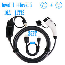 Electric Vehicle Charger EV Charging Cable Cord 240V 16A  25FT J1772 5-15 level2