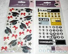 GRADUATION Stickers by Sticko - Lot of 2 Packs - CLASS OF' & BLACK GRADUATION
