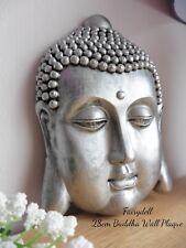 RUSTIC SILVER BUDDHA HEAD WALL PLAQUE ~ ORNAMENT~ ZEN HOME DECOR 28cm