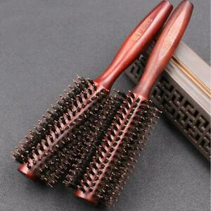 Round Wooden Hairdressing Boar Bristle Curling Styling Hair Brush Comb S8E1