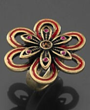NWT Guess Brushed Gold Metal Finish & Red Enamel & Stone Flower Ring, Size 7