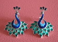 925 Sterling Silver Stud Rhodium Plating Blue Sapphire Gem Peacock Earrings