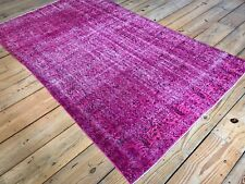 "8'5"" x 5'1"" Vintage Hand Knotted Overdyed Pink Turkish Wool Area Rug"