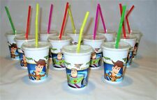 36 Toy Story Plastic Cups with Push Lids and Straws - Disney Party Tableware