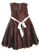 Jessica McClintock Brown & Ivory Strapless Polka Dot Dress Sz 11/12