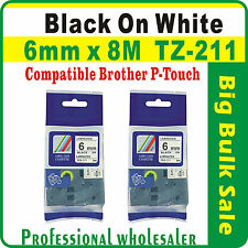 2 x 6mm x 8m Brother Black on White Compatible TZ-211 Laminated Label Tape