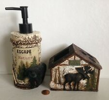 Soap Lotion Pump&Toothbrush Holder~Lodge Cabin Country Bathroom Rustic Primitive