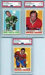1970 Topps 3 Card Lot All PSA Graded Inc. Goldsworthy, Cournoyer, and Savard