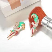 Women Parrot Earrings Rhinestone Multicolor Birds Ear Studs Stylish Jewelry D