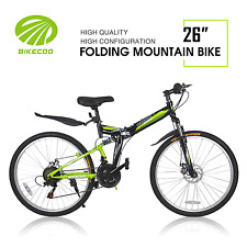 "26"" 21 Speed Folding Mountain Bike Bicycle Shimano Derailleur MTB Black + Green"