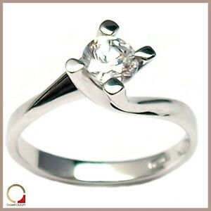 Solitaire Ring Valentino White Gold 18 Carats Women's For Engagement Zircon