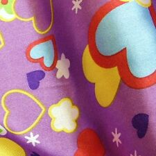 Purple Satin Fabric with Children's Hearts & Clouds Print (Per Metre) CLEARANCE