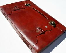 HANDMADE LEATHER A4 LARGE DOUBLE-LOCK JOURNAL DIARY NOTEBOOK GREAT GIFT