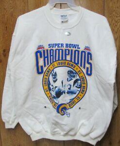 St. Louis Rams Vintage Super Bowl XXXIV Champion White Sweatshirt XL NFL circle