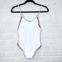 New Tori Praver Small S Belle Ribbed One-Piece Swimsuit White Nude Mesh Scoop