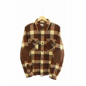 Bape Long Sleeve T-Shirts Wool Elbow Patch Flannel Brown