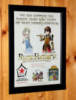Rune Factory A Fantasy Harvest Moon Rare Small Poster / Ad Page Framed NDS