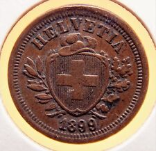 Switzerland 1899 B 1 Rappen AU+ with Great Color & a Lite Orig. Patina Nice Coin