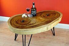 Solid Wood Coffee Table 80 CM Wood Living Room Table Tree Pane Acacia Suar Solid